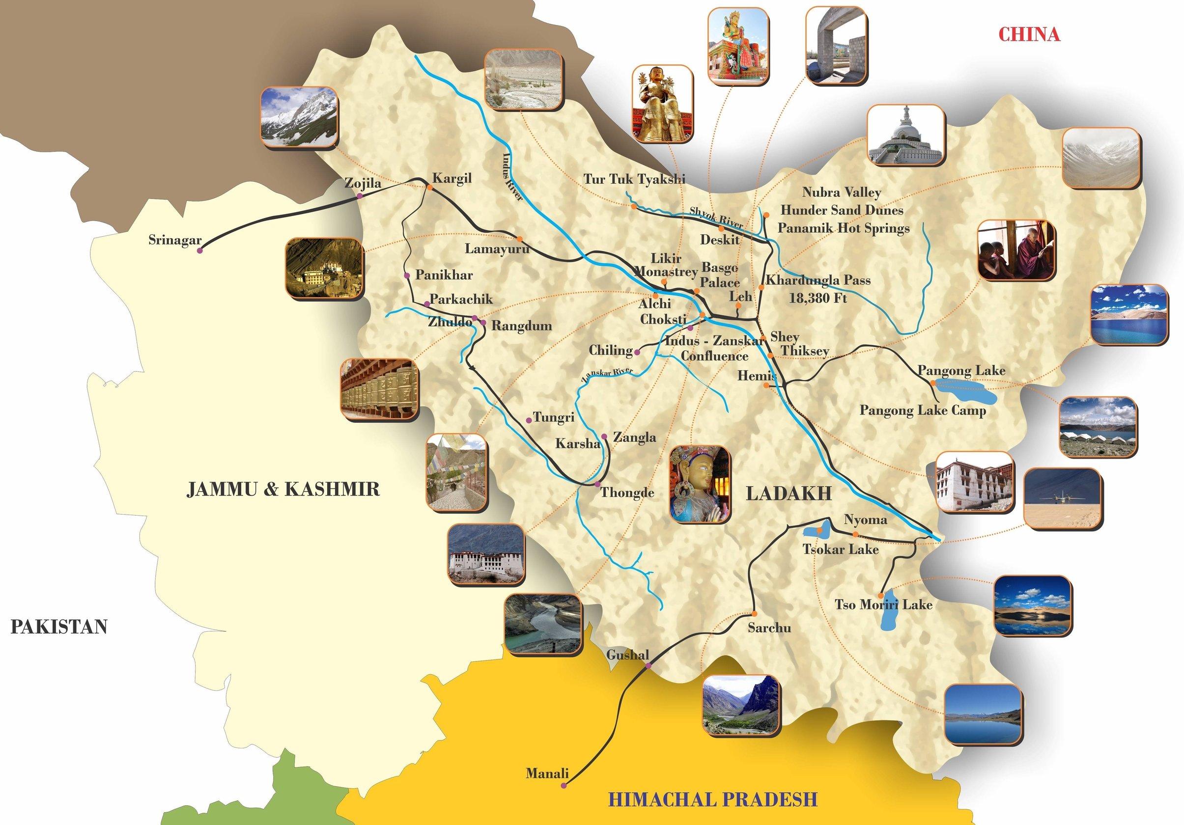 Map Of Ladakh Map of Ladakh, Ladakh Tours Operato, Ladakh Travel Company. Map Of Ladakh